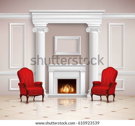 Realistic Classic Interior Design With Fireplace, Moldings, Columns And Red  Armchairs On Beige Floor