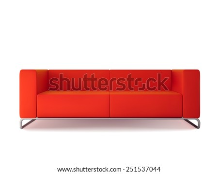 Realistic classic red sofa isolated on white background vector illustration - stock vector
