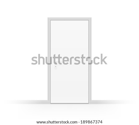Realistic closed white door isolated on white. EPS10 vector image.  - stock vector
