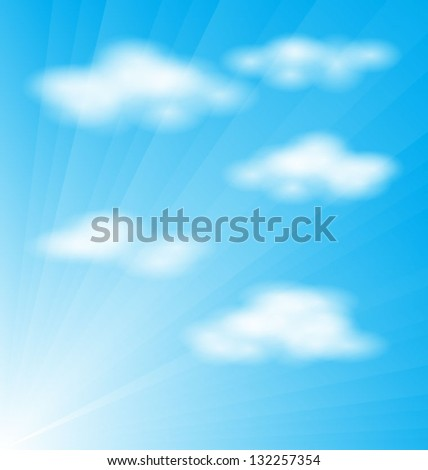 Realistic cloud vector over sunburst background, eps10 - stock vector