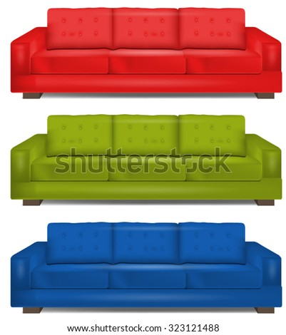 Realistic Colorful Couches Set - stock vector