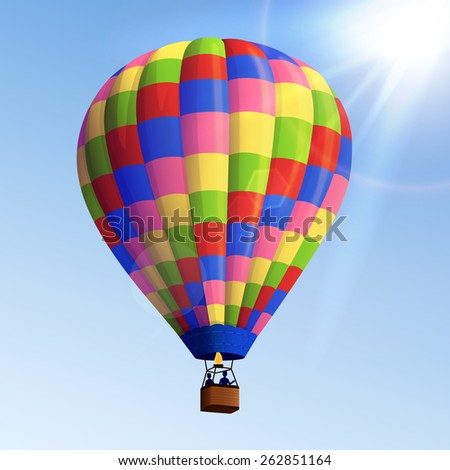 Realistic colorful striped flying air balloon with basket with blue sky background vector illustration