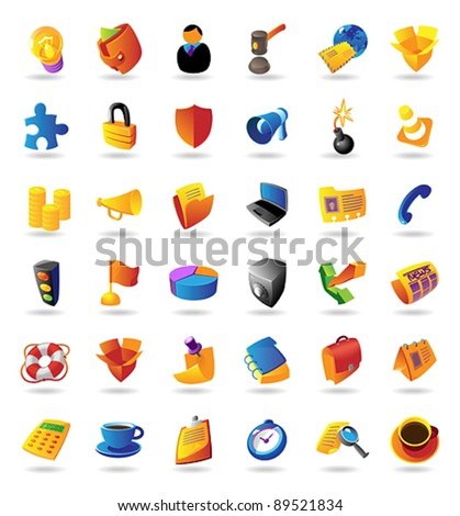 Realistic colorful vector icons set for business and finance on white background - stock vector