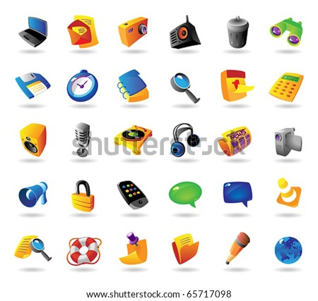 Realistic colorful vector icons set for computer and website interface on white background - stock vector