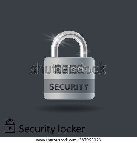 realistic combination lock with glare and shadow on a dark background