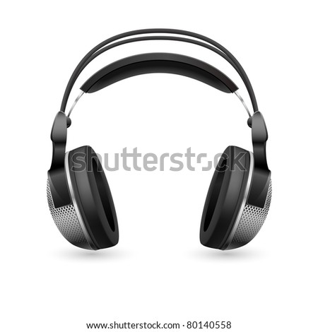 Realistic computer headset. Illustration on white background - stock vector