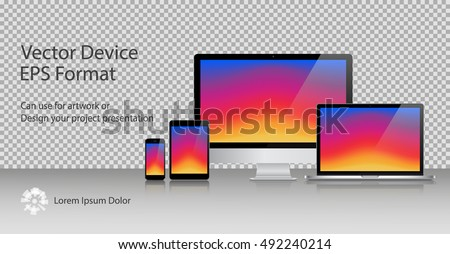 Realistic Computer Monitor, Laptop, Tablets and Smartphone with Colorful Screen Isolated. Can Use for Template Presentation or Banner. Electronic Gadgets, Device Set Mock Up. Vector Illustration.