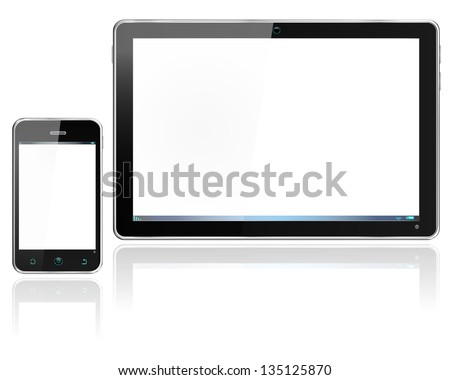 Realistic computer tablet and smartphone cellphone -  vector layered and with a separate layer to easily add your own image to each screen - stock vector