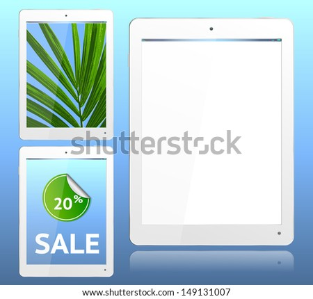 Realistic computer tablet in White ipade style  - vector layered grouped and with a separate layer to easily add your own screen image to each