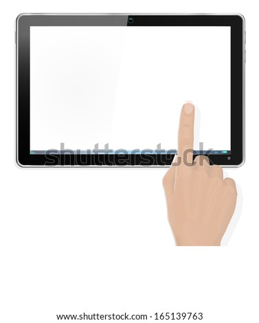 Realistic Computer Tablet with Hand Pointing - with separate layer so you can easily add your own image to tablet screen