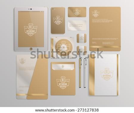 Realistic Corporate Identity Business Set Design. Vector Illustration - stock vector
