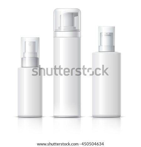 Realistic Cosmetic bottle can sprayer container. Dispenser for cream, soups, and other cosmetics With lid. Template For Mock up Your Design. vector illustration. - stock vector