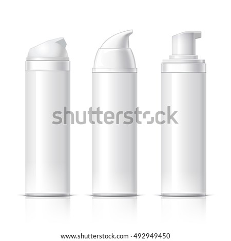 Realistic Cosmetic bottle can sprayer container. Dispenser for cream, soups, and other cosmetics without lid. Template For Mock up Your Design. vector illustration.