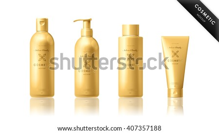 Realistic cosmetic bottle mock up set isolated pack on white background.