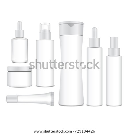 Realistic Cosmetic White Vector Bottles Containers 723184426