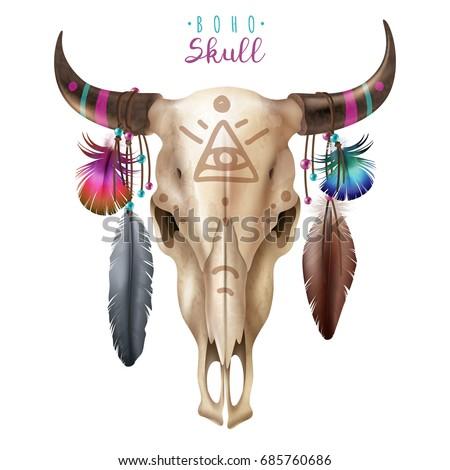 Realistic Cow Skull Boho Style Masonic Stock Vector 2018 685760686