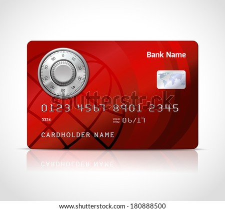 Realistic credit card template with code lock online payments security concept vector illustration - stock vector