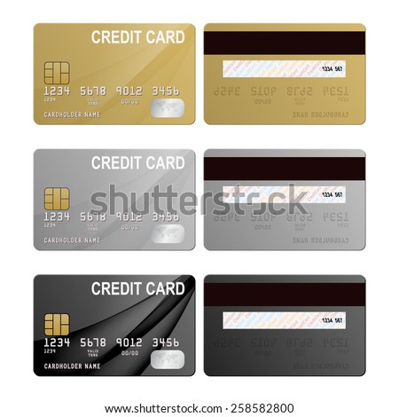 Realistic credit cards set - gold, silver and black. Vector EPS10 illustration.  - stock vector