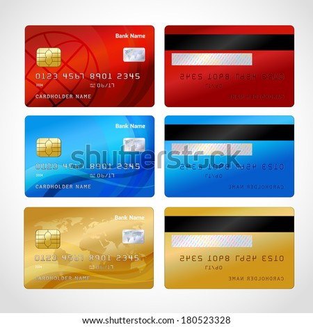 Realistic credit cards set isolated vector illustration - stock vector