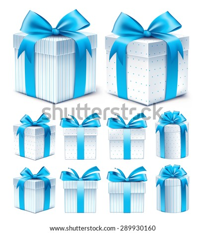 Realistic 3D Collection of Colorful Blue Pattern Gift Box with Ribbon and Bow for Birthday Celebration, Christmas, Party, Anniversary and Eid Mubarak. Set of Isolated Vector Illustration - stock vector