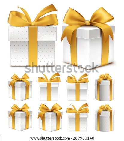 Realistic 3D Collection of Colorful Gold Pattern Gift Box with Ribbon and Bow for Birthday Celebration, Christmas, Party, Anniversary and Eid Mubarak. Set of Isolated Vector Illustration - stock vector