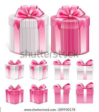 Realistic 3D Collection of Colorful Pink Pattern Gift Box with Ribbon and Bow for Birthday Celebration, Christmas, Party, Anniversary and Eid Mubarak. Set of Isolated Vector Illustration - stock vector