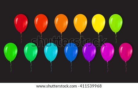 Realistic 3d Colorful Glossy Balloons Flying for Happy Birthday, Party and Celebrations. Trendy Design element on black background. Vector Illustration - stock vector