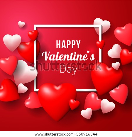 Realistic 3D Colorful Red and White Hearts balloon Romantic Happy Valentine day Background.