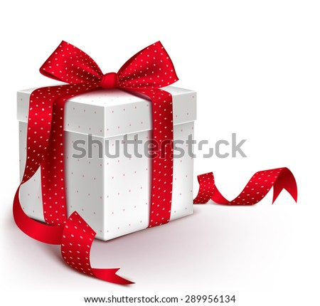 Realistic 3D Colorful Red Gift Box with Pattern and Satin Ribbon and Bow for Valentines Day, Birthday Celebration, Christmas, Party and Anniversary. Isolated Vector Illustration - stock vector