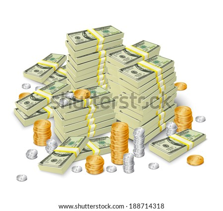 Realistic 3d dollar cash banknotes stack money and coins tower concept vector illustration