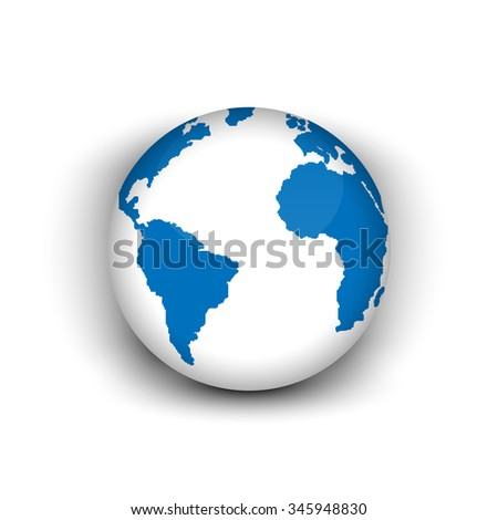 Realistic 3 d globe icon world map stock vector 345948830 shutterstock realistic 3d globe icon of the world map gumiabroncs Choice Image