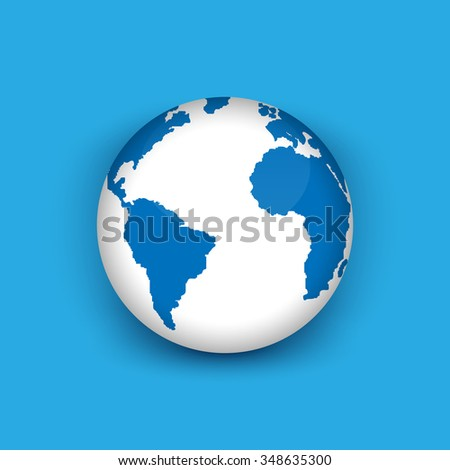 Realistic 3 d globe icon world map stock vector 348635300 shutterstock realistic 3d globe icon of the world map gumiabroncs Choice Image