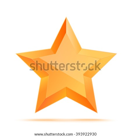 Realistic 3D gold star. Award winner. Good job. The best reward. bulk copper star. Simple star on a white background. The award for the best choice. Premium class. Vector illustration