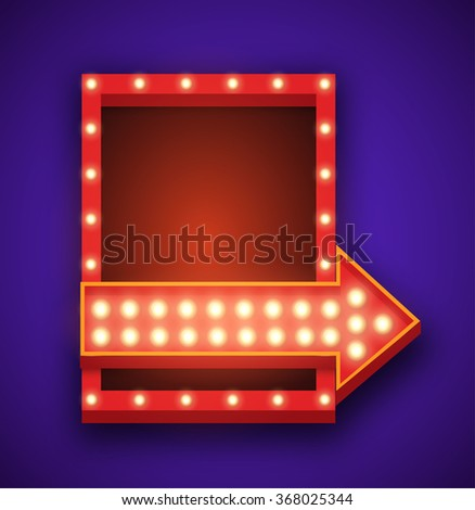 Realistic 3D light background. Retro rectangle frame and arrow with light glowing bulbs. Vector design element for your text, Advertising, Promotions. - stock vector