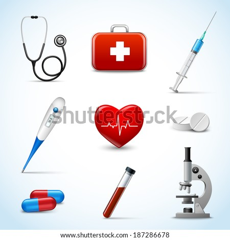 Realistic 3d medical emergency first aid care icons set with heart pill thermometer isolated vector illustration - stock vector