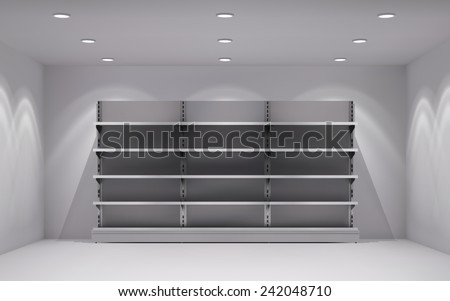 Realistic 3d store interior with empty shelves in lamp spotlights background vector illustration - stock vector