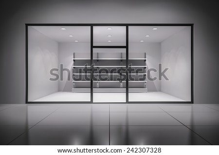 Realistic 3d store interior with empty shelves in spotlights inside background vector illustration - stock vector