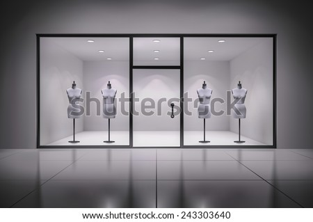 Realistic 3d store showcase interior with mannequins background vector illustration - stock vector