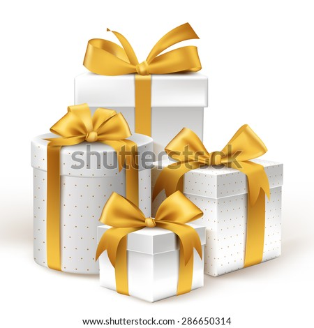 Realistic 3D White Gifts with Colorful Gold Ribbons Wrap with Dotted Pattern for Birthday or Christmas Celebration in White Background. Editable Vector Illustration. - stock vector