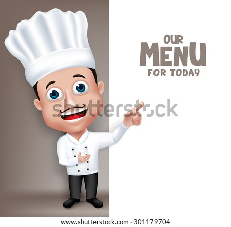 Realistic 3D Young Friendly Professional Chef Cook Character in Restaurant Uniform Happy Presenting Menu for Today White Space for Message. Vector Illustration - stock vector