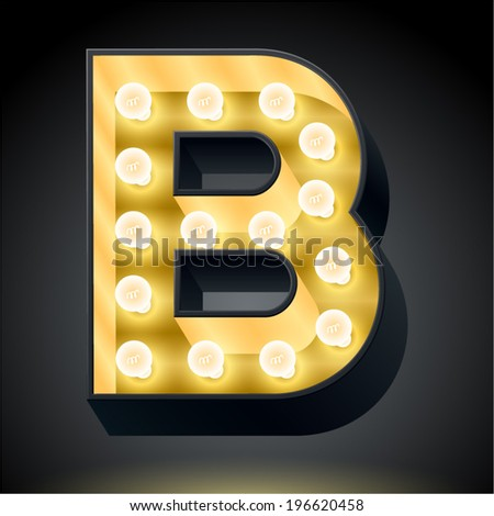 Realistic dark lamp alphabet for light board. Vector illustration of bulb lamp letter b - stock vector