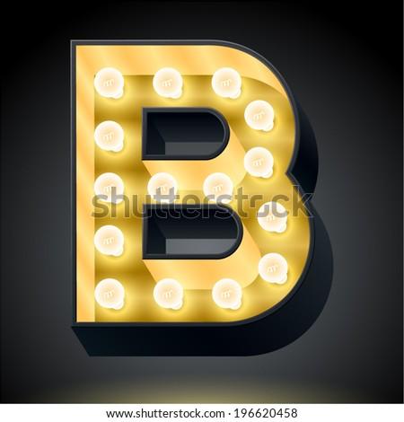 Realistic dark lamp alphabet for light board. Vector illustration of bulb lamp letter b - stock vector