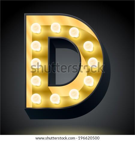 Realistic dark lamp alphabet for light board. Vector illustration of bulb lamp letter d - stock vector
