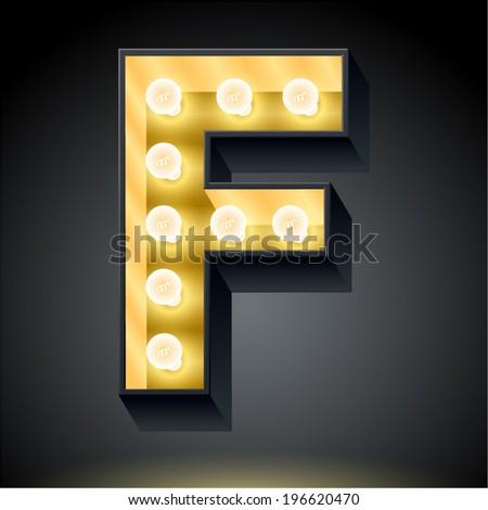 Realistic dark lamp alphabet for light board. Vector illustration of bulb lamp letter f - stock vector