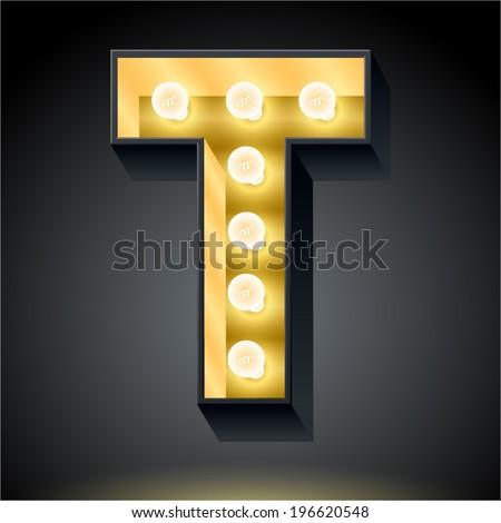 Realistic dark lamp alphabet for light board. Vector illustration of bulb lamp letter t - stock vector