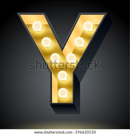 Realistic dark lamp alphabet for light board. Vector illustration of bulb lamp letter y - stock vector