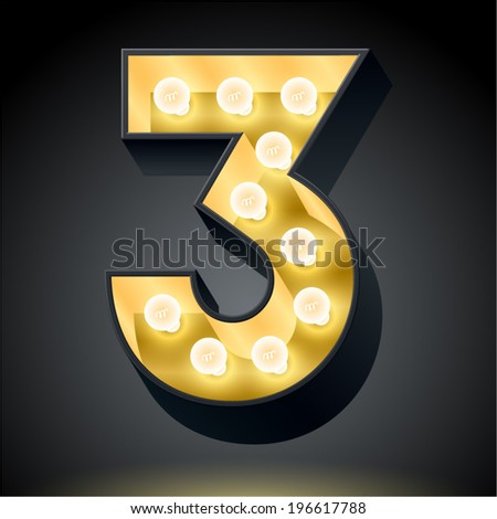 Realistic dark lamp alphabet for light board. Vector illustration of bulb lamp number 3  - stock vector