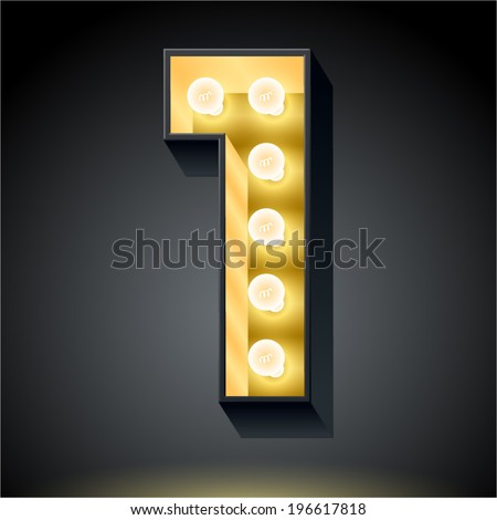 Realistic dark lamp alphabet for light board. Vector illustration of bulb lamp number 1  - stock vector