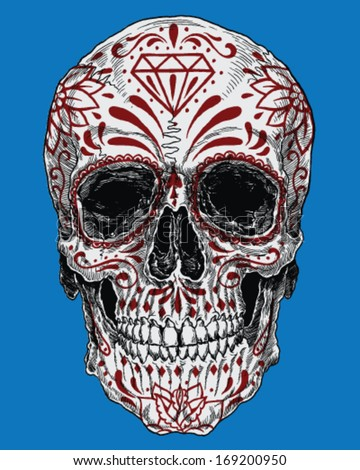 Realistic Day of the Dead Sugar Skull - stock vector