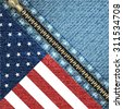 Realistic denim background with USA flag and stitch effect/vector illustration - stock photo